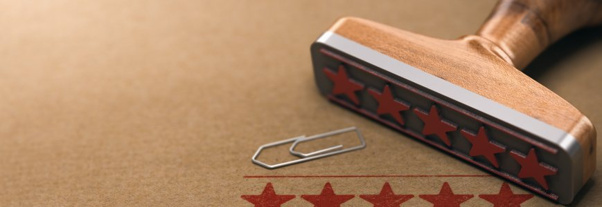 Five stars rating label over brown paper background. Customer review concept. 3d illustration